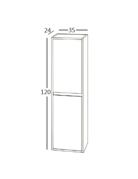 SUSPENDED BATHROOM WALL COLUMN 24 (D) x 35 (W) x 120 (H) cm. 2 doors
