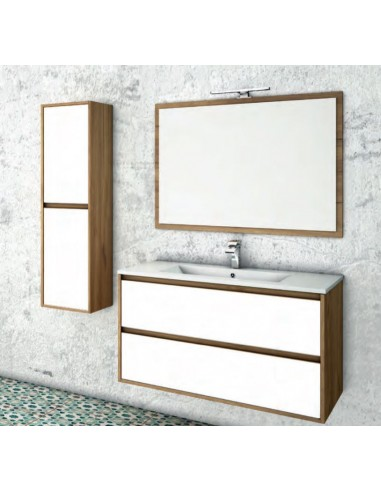 BATHROOM SET MALVA 100 CM  suspended 2 Drawers - LIGHT OAK/WHITE